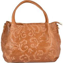 Torebki klasyczne damskie: Skórzana torebka w kolorze jasnobrązowym – 22 x 21 x 13 cm