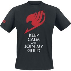 T-shirty męskie z nadrukiem: Fairy Tail Keep Calm T-Shirt czarny