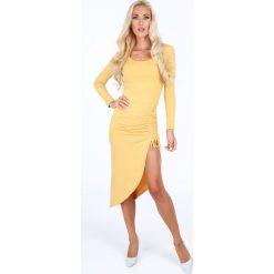 Sukienka z gorsetowym wiązaniem miodowa 50280. Pomarańczowe sukienki Fasardi, z gorsetem, gorsetowe. Za 79,00 zł.