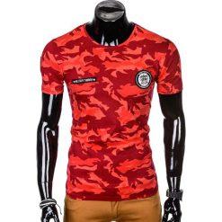 T-SHIRT MĘSKI Z NADRUKIEM S1010 - CZERWONY/MORO. Czarne t-shirty męskie z nadrukiem marki Ombre Clothing, m, z bawełny, z kapturem. Za 35,00 zł.