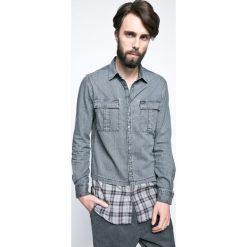Guess Jeans - Koszula. Szare koszule męskie jeansowe Guess Jeans, l, z aplikacjami, z klasycznym kołnierzykiem, z długim rękawem. W wyprzedaży za 199,90 zł.