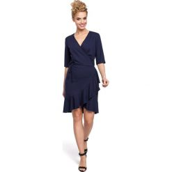 DARELLE Sukienka na zakładkę z wiązaniem - granatowa. Niebieskie sukienki na komunię Moe. Za 119,00 zł.