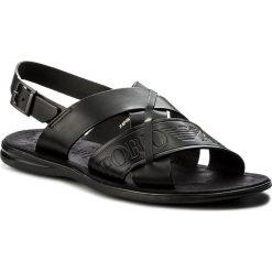 Sandały męskie skórzane: Sandały EMPORIO ARMANI – X4P061 XL271 K001 Black/Black