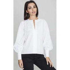 Bluzki damskie: Biała Bluzka Koszulowa z Rozcięciem przy Dekolcie