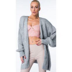Kardigany damskie: Sweter niezapinany oversize szary MISC8895