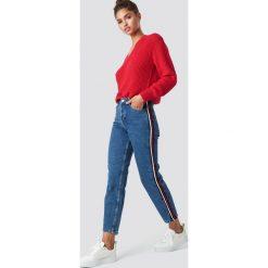MANGO Jeansy Claudia - Blue. Niebieskie spodnie z wysokim stanem Mango, w paski, z jeansu. Za 141,95 zł.