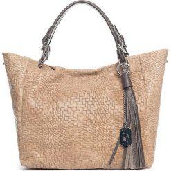 Shopper bag damskie: Skórzany shopper bag w kolorze szarobrązowym - 42 x 30 x 20 cm