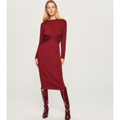 Sukienka midi w paski - Bordowy. Czerwone sukienki marki Reserved, l, w paski, midi. Za 59,99 zł.