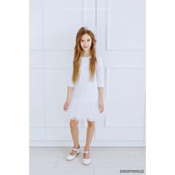 Teen Sukieneczka Tiulowa z Koronką Betty. Szare stroje dwuczęściowe dziewczęce Pakamera, w koronkowe wzory, z dzianiny. Za 279,00 zł.
