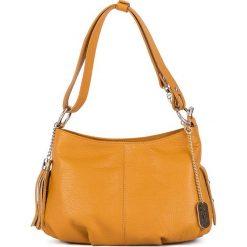 Torebki klasyczne damskie: Skórzana torebka w kolorze żółtym - 30 x 20 x 8 cm