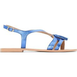 Rzymianki damskie: Płaskie sandały skórzane z pomponami