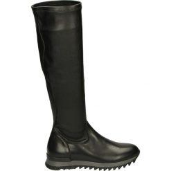 Kozaki na platformie - V081G V-S NER. Czarne buty zimowe damskie marki Kazar, z futra, przed kolano, na wysokim obcasie, na koturnie. Za 249,00 zł.