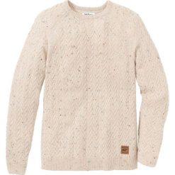 Sweter z okrągłym dekoltem w warkocze Regular Fit bonprix naturalny melanż. Białe swetry klasyczne męskie bonprix, l, melanż, z okrągłym kołnierzem. Za 109,99 zł.