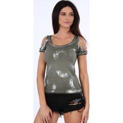 Bluzki damskie: Bluzka wycięte ramiona khaki ZZ1078