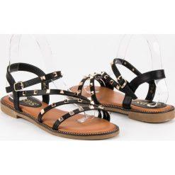 Sandały damskie: Płaskie sandały z ćwiekami SDS czarne