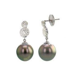 Kolczyki damskie: Kolczyki z białego złota z perłami Tahiti i diamentami
