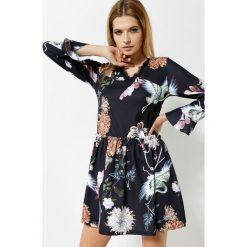Sukienki: Czarno-Brązowa Sukienka Sweety Flower