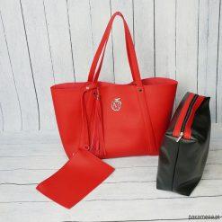 Kuferki damskie: Duża torba worek MANZANA xxl 3w1 czerwona