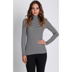 Bluzki asymetryczne: Biało-czarna bluzka w paski z golfem i długim rękawem BIALCON