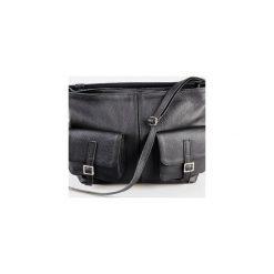 Torba z kieszeniami ze skóry naturalnej. Czarne torebki klasyczne damskie Pracownia6-9, w paski, ze skóry. Za 252,00 zł.