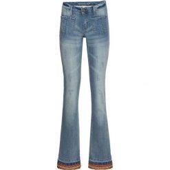 """Dżinsy BOOTCUT z bordiurą bonprix niebieski """"bleached"""". Niebieskie jeansy damskie bootcut marki bonprix. Za 54,99 zł."""
