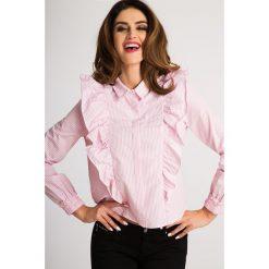 Koszule damskie: Różowa Koszula w Pionowe Paski 21081