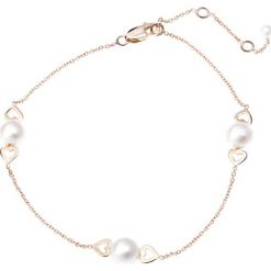 Bransoletki damskie na nogę: Złota bransoletka z perłami słodkowodnymi
