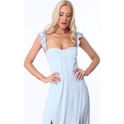 Długie sukienki: Sukienka maxi z guzikami jasnoniebieska ZZ337