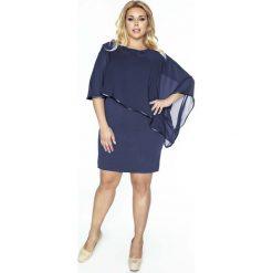 Sukienki asymetryczne: Granatowa Sukienka Wizytowa Dopasowana z Szyfonem PLUS SIZE