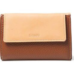 Portfele damskie: Skórzany portfel w kolorze brązowo-beżowym – 16,5 x 11 x 3,5 cm