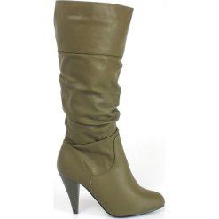 Oliwkowe Marszczone kozaki na Obcasie Szpilce. Zielone buty zimowe damskie vices, ze skóry, na wysokim obcasie, na obcasie. Za 38,97 zł.