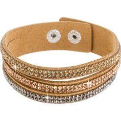 Bransoletki damskie: Skórzana bransoletka w kolorze jasnobrązowym z kryształami Swarovski