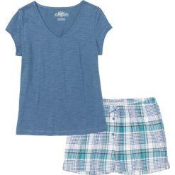 Piżamy damskie: Piżama z krótkimi spodniami bonprix niebieski dżins w kratę