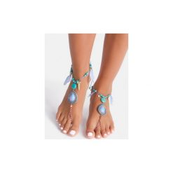 Bransoletki damskie na nogę: Niebieska bransoletka na stopę Tear
