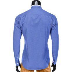 KOSZULA MĘSKA ELEGANCKA Z DŁUGIM RĘKAWEM K389 - NIEBIESKA. Brązowe koszule męskie na spinki marki Ombre Clothing, m, z aplikacjami, z kontrastowym kołnierzykiem, z długim rękawem. Za 59,00 zł.