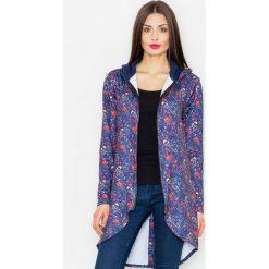 Bluzy damskie: Granatowa Bluza na Suwak w Kwiaty z Kapturem