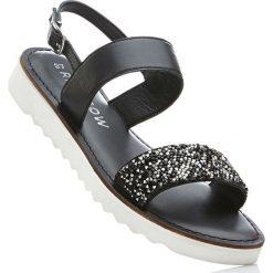 Sandały skórzane na koturnie bonprix czarny. Czarne rzymianki damskie bonprix, w paski, na koturnie. Za 74,99 zł.
