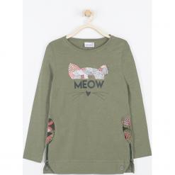 Koszulka. Zielone bluzki dziewczęce bawełniane marki FAVORITE, z aplikacjami, z długim rękawem. Za 69,90 zł.