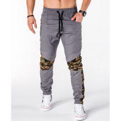 SPODNIE MĘSKIE JOGGERY P387 - SZARE. Czarne joggery męskie marki Ombre Clothing, m, z bawełny, z kapturem. Za 79,00 zł.