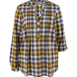 Tunika bluzkowa, długi rękaw bonprix szafranowy w kratę. Żółte tuniki damskie z długim rękawem bonprix. Za 74,99 zł.