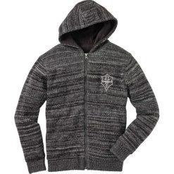 Swetry klasyczne męskie: Sweter rozpinany outdoorowy bonprix czarny melanż