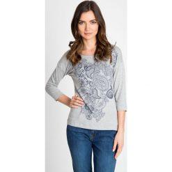 Bluzki damskie: Szara bluzka z orientalnym nadrukiem QUIOSQUE