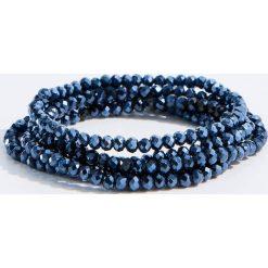 Bransoletki damskie: Długa bransoletka z koralików - Granatowy