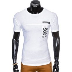 T-shirty męskie: T-SHIRT MĘSKI Z NADRUKIEM S969 - BIAŁY