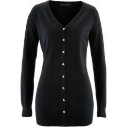 Długi sweter rozpinany bonprix czarny. Białe kardigany damskie marki Reserved, l. Za 74,99 zł.