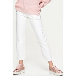 Jeansy damskie: Jeansy high waist - Biały