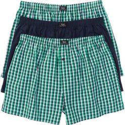 Bokserki z tkaniny (3 pary) bonprix ciemnoniebiesko-zielony w kratę. Niebieskie bokserki męskie bonprix, z tkaniny. Za 59,97 zł.
