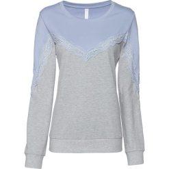 Bluza z koronką bonprix niebieski gołębi - jasnoszary melanż. Niebieskie bluzy damskie bonprix, w koronkowe wzory, z koronki. Za 49,99 zł.