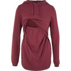Sweter ciążowy i do karmienia, z kapturem bonprix bordowy. Czerwone swetry klasyczne damskie bonprix, z kapturem, moda ciążowa. Za 89,99 zł.