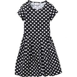 Sukienki dziewczęce: Sukienka shirtowa w groszki bonprix czarno-biały w groszki